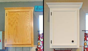 Installing cabinet crown moldings make your builder grade for Adding crown molding to kitchen cabinets before after
