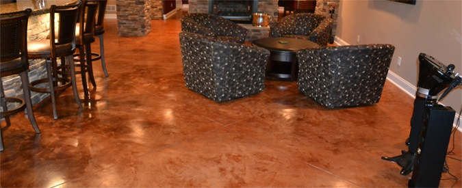 Orange Stained Basement Floor Concrete